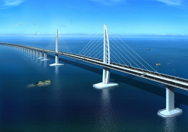 港珠澳大桥跨越伶仃洋,东接香港,西接珠海、澳门,是一国两制框架下粤港澳三地首次合作建设的大型跨海交通工程,也是世界上最长的跨海大桥工程。大桥全长55公里,集桥、岛、隧于一身,其中主体工程海中桥隧长35.578公里,有3座斜拉桥,桥体全部采用钢结构。大桥的抗震达8度,能抗16级台风,设计使用寿命120年。港珠澳大桥的建成通车进一步完善了国家和粤港澳三地的综合运输体系和高速公路网络,对港珠澳协调发展具有重要战略意义。